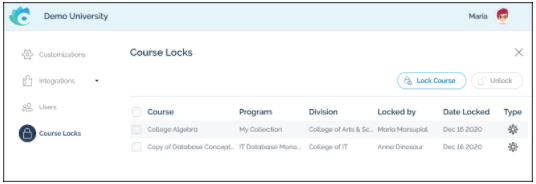 Course Lock allows you to manage who can change your courses in CourseTune