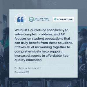 Maria Andersen on Coursetune and Academic Partnerships merger.